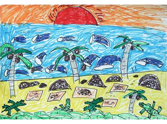 小学沙滩画小学电脑画画图小学油画棒教师范画